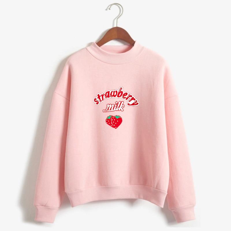 Harajuku Kawaii Strawberry Hoodie Sweatshirt Women Korean Fashion Kpop Street Style Sweatshirts Schoolgirl Streetwear