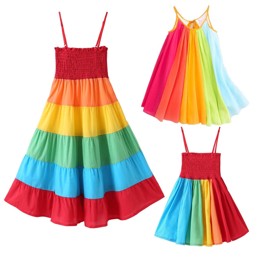 New Baby Girl Dress Clothes Toddler Kids Girls Princess Clothes Rainbow Color Block Colorful Sling Party Dresses Vestido Infant