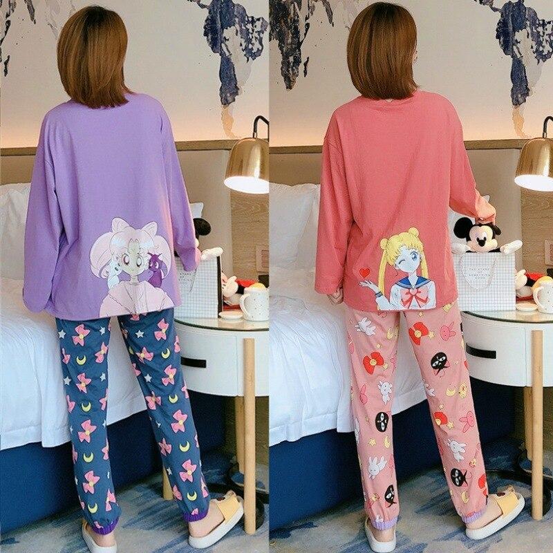 Conjunto de pijamas cor-de-rosa bonito conjunto de pijamas para mulheres outono manga longa leite pedaços