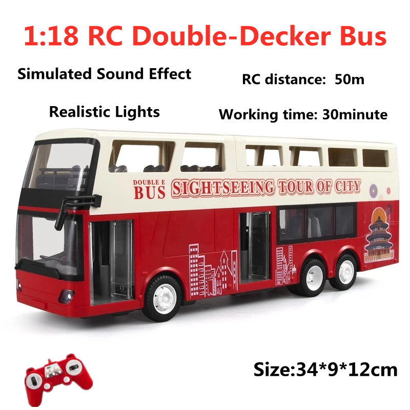 1:18 RC Double-Decker Bus Simulated Sound Effect LED Lights 2.4Ghz RC Cars Model Toys Gifts For Children