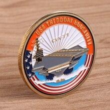 Памятная коллекция монет произведение искусства покрытие золотой темно CVN71 авианосец N84E