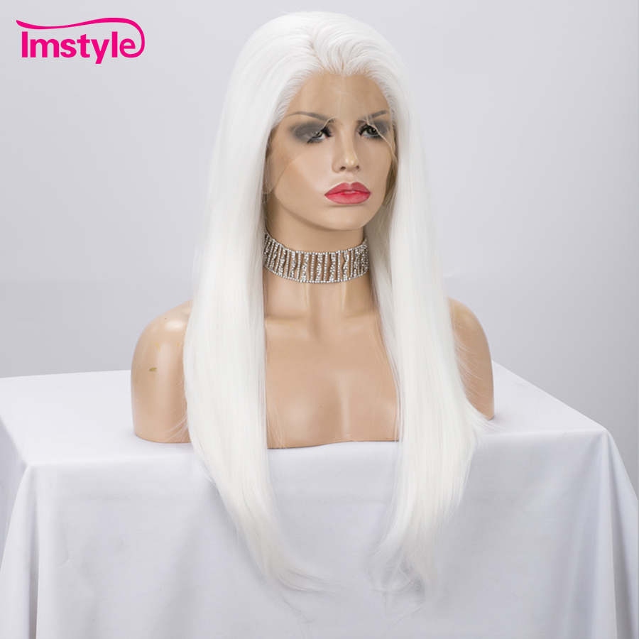 Imstyle White Wig Synthetic Lace Front Wig Straight Hair Wigs For Women Cosplay Wig Glueless Heat Resistant Fiber