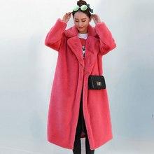 Новинка, зимнее меховое пальто большого размера, женская модная куртка из искусственного меха с отложным воротником, свободное плотное теплое длинное пальто из искусственного меха для женщин 401