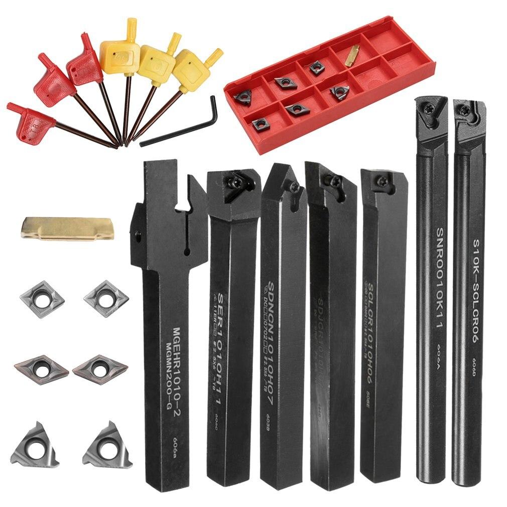 21PCS/SET DCMT CCMT Carbide Insert + 10mm Boring Bar Tool Holder + Wrench For Lathe Turning Tool Shank Lathe Turning Tool