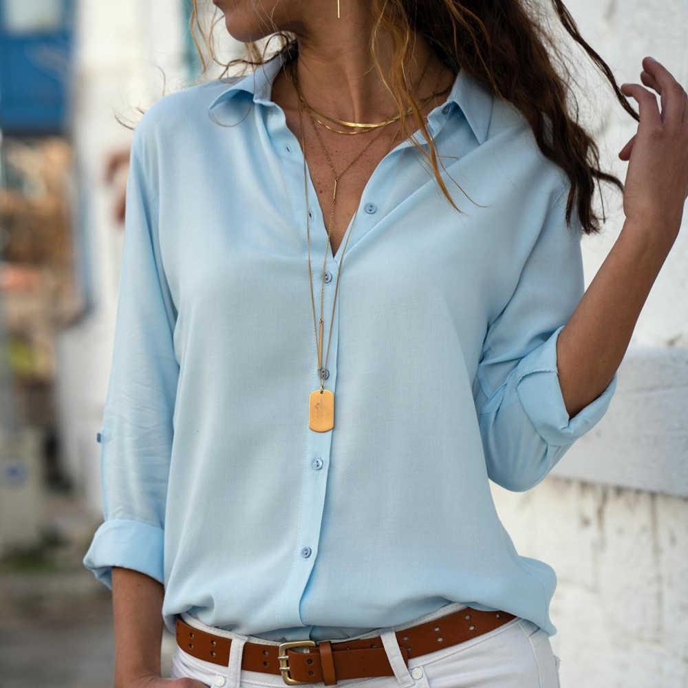 Cysincos szyfonowa bluzka damska moda 2019 jesień koszula z długim rękawem damska odzież robocza koszula bluzka Plus Size kobiet topy