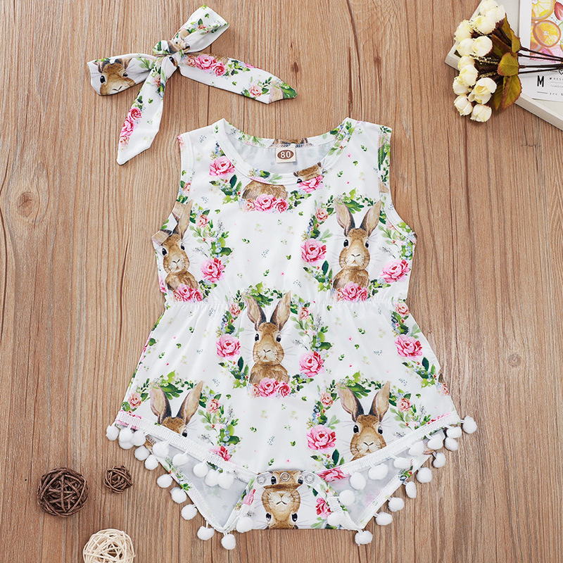 Lovely Easter Outfit Baby Floral Romper And Headband Sleeveless Flowers And Rabbit Print Newborn Onesie Summer Baby Clothing