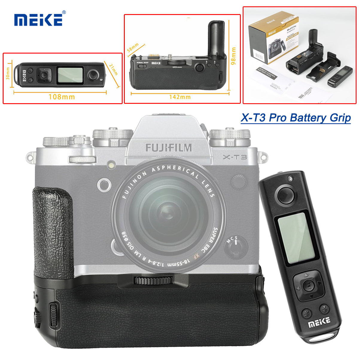 Meike MK-XT3 Pro Battery Grip For Fujifilm Fuji XT3 X-T3 X T3 Camera Holder Handle Grip With Wireless Remote NOT Include Bettery