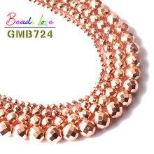 Natural Subiu Ouro Lapidado Hematita Pedra Redonda Soltas Spacer Beads para Fazer Jóias Diy Bead Bracelet 2 3 4 6 8 10mm 15 Polegadas