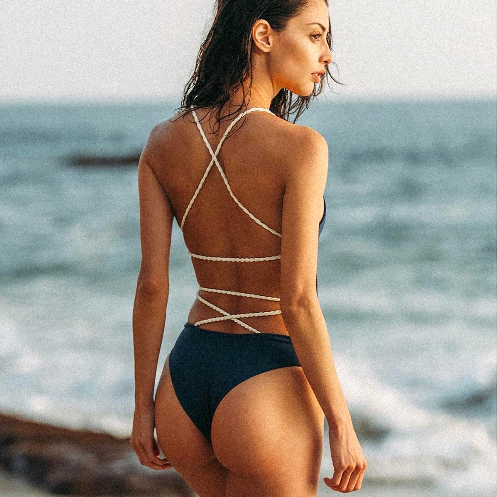 Pirate Knitted Solid Beach Swimsuit Women Summer 2020 Backless High Waist Hollow Out Swimwear Chic Women Swimming Suit For Women