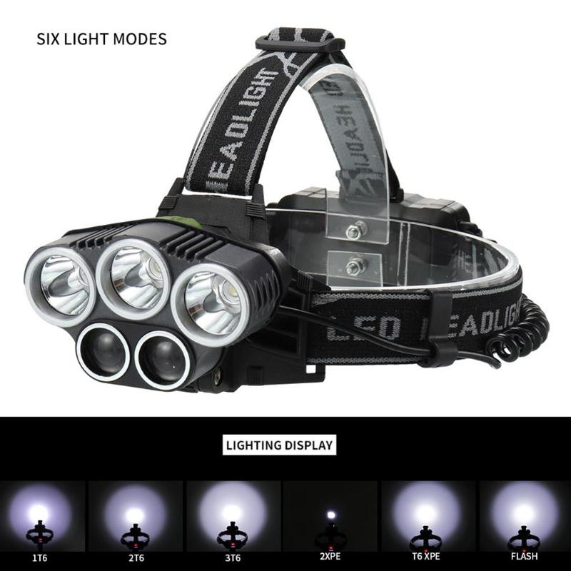 6Modes Tactics Outdoor LED Headlamp Fast Rechargable Hunting Fishing Touch 9k LM