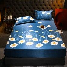 Mat Mattress Protect-Cover Fitted-Sheet Bed Flower-Printed Summer Pillowcase Bed-Mat-Set