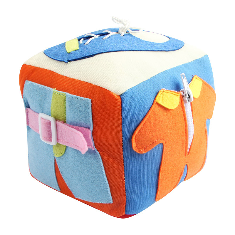 2019 New Plush Dressing Blocks Toy Button Buckle Lace Up Zipper Daily Learning Education Toy For Baby Toddler
