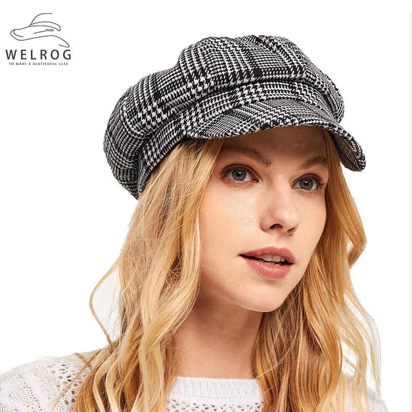 WELROG New Women Plaid Octagonal Hat British Faux Wool Newsboy Caps Fashion Lattice Gifted Octagonal Hats Houndstooth Baker Cap