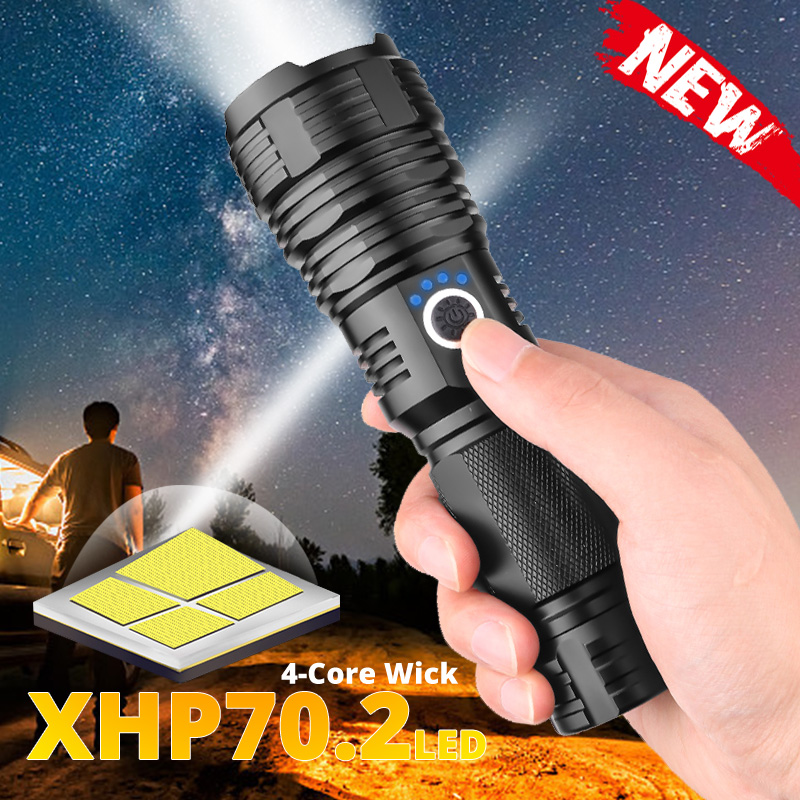 Portable XHP70.2 LED Flashlight Tactical Waterproof Torch 5 Lighting modes Zoom built in lamp use 26650 battery USB Rechargeable