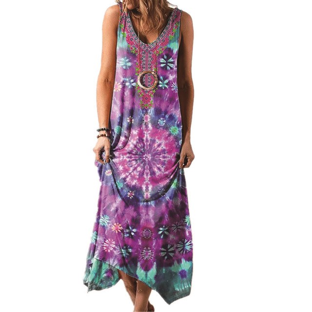 Summer Long Skirt New Ethnic Style Loose Printed Vest One-piece Long Skirt Fashionable Sexy Bohemian Dress 5