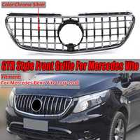 Chrome / Gloss Black GTR Style Car Front Bumper GT Grill Grille For Mercedes For Benz Vito 2015 2016 2017 2018 WITHOUT EMBLEM
