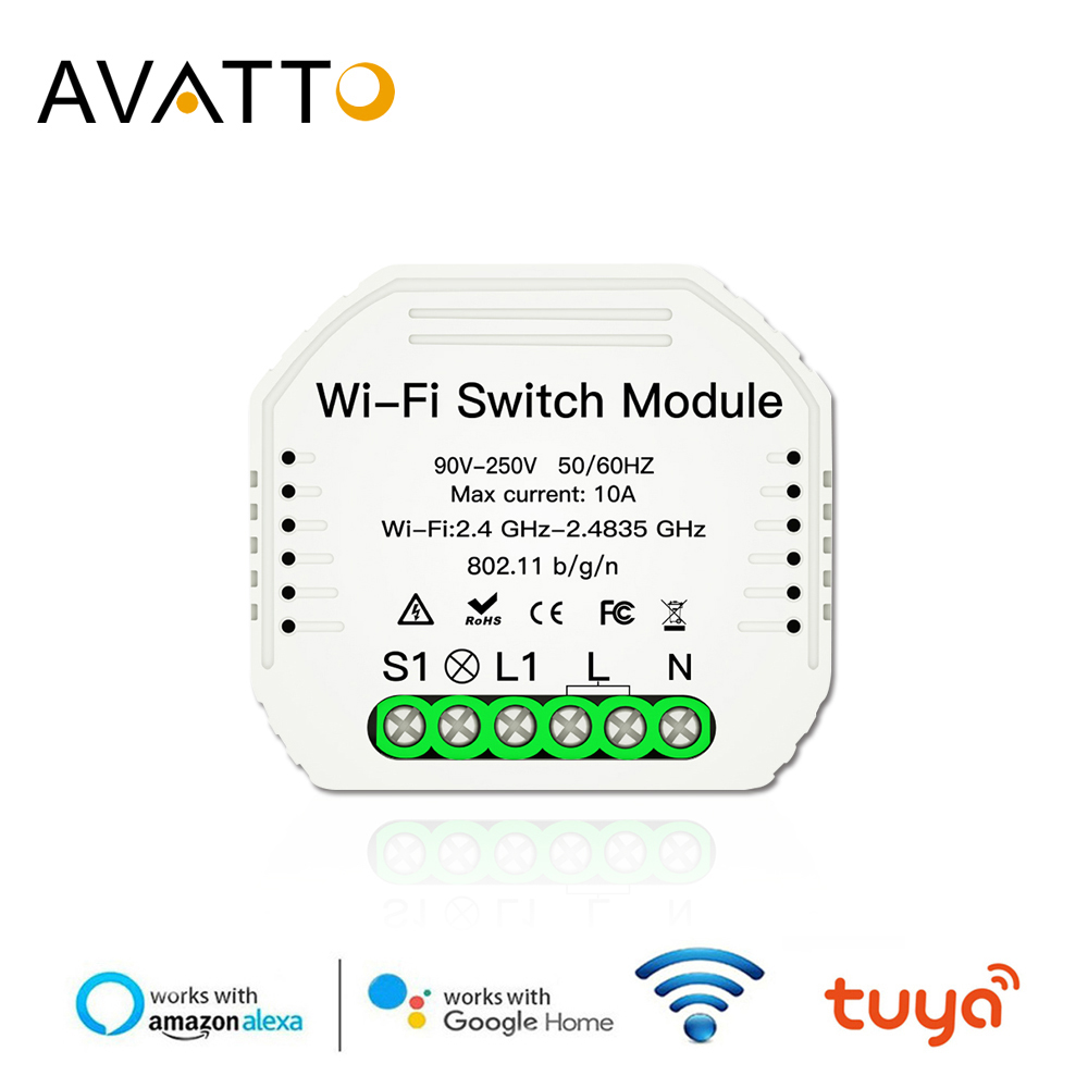 스마트 라이프 앱 제어 기능이있는 AVATTO Tuya Wifi 스위치 모듈  Alexa google 홈을위한 스마트 홈 자동화 인터럽터 Wifi 작업-에서홈 자동화 모듈부터 가전제품 의 title=
