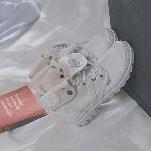 Image 4 - OP UR HAND 2019 Fashion Sneakers Vrouwelijke Hoge Top Canvas Schoenen Vrouwen Casual Schoenen Witte Platte Vrouwelijke Lace Up Solid trainers