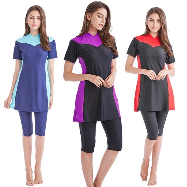 new 2018 new  summer stitching style of the Muslim swimsuit short sleeved islamic swimsuit islamic clothing