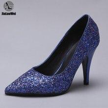JIALUOWEI 10cm Hohe Ferse Frauen Damen Mode Glitter Pailletten Spitze Zehen High Heel Formale Pumpe Schuhe Size36-46