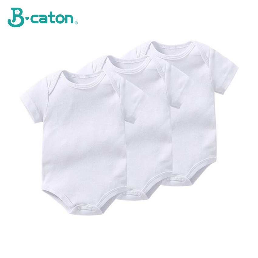 3 Pcs Baby Rompers Short Sleeve Baby Underwear 100% Cotton Soft Breathable White Hyperelastic 0-1 Years Old