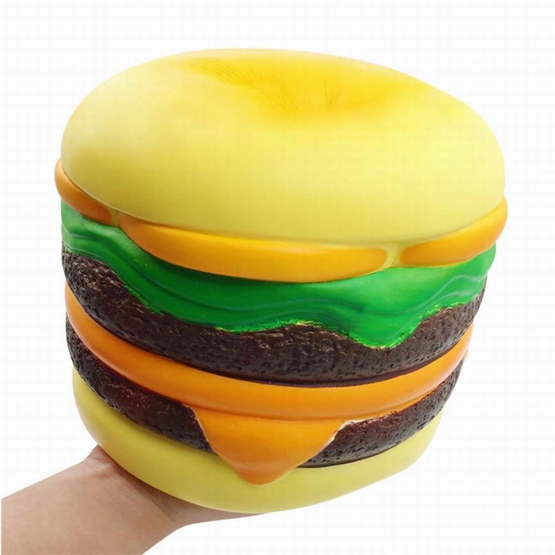 Jumbo Squishy Large Hamburger Slow Rebound Ornament Vent Cartoon Pu Simulation Squeeze Squishies 2019 Toys For Children 19cm*19cm