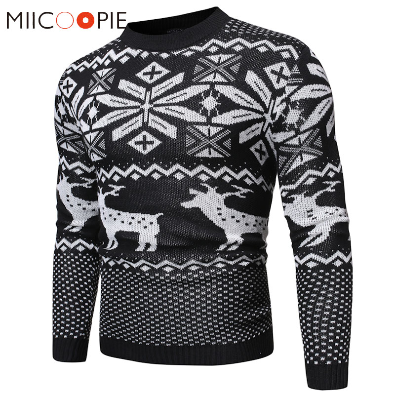 New Fashion Elk Pattern Christmas Sweater Pullover Men Casual Warm O-Neck Long Sleeve Knitted Sweater Winter Wool Pull Homme XL