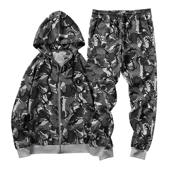 women outfit 2019 two piece set clothes top and pants spring autumn ladies tracksuits korean style plus size fashion lounge wear Camouflage Tracksuits Men Zipper Hoodie And Sweatpants Set 2 Piece Fashion Camo Pants Jogger Suits Sportswear Plus Size Clothes