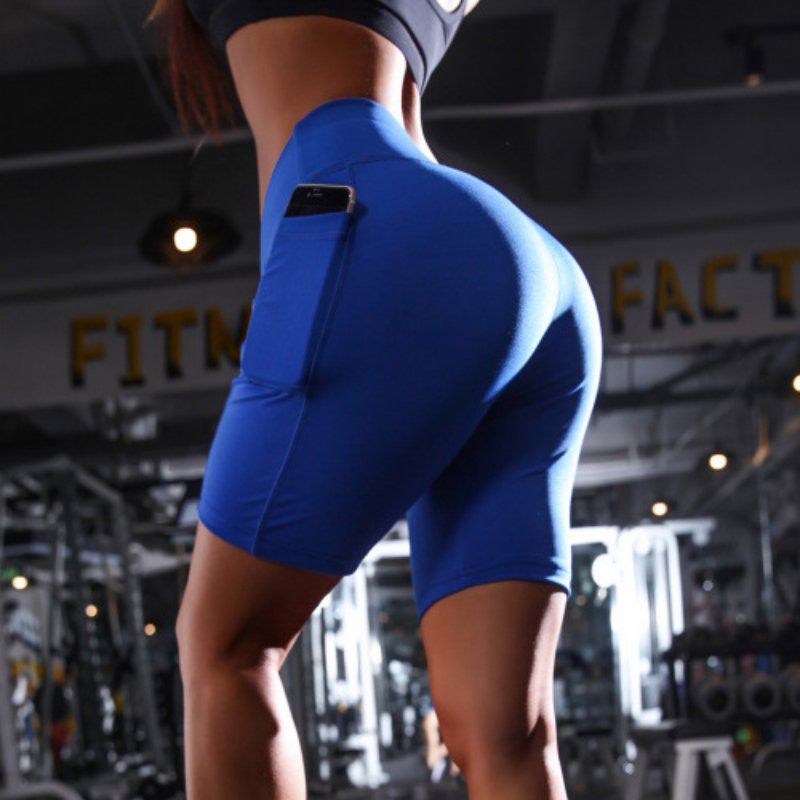 Solid High Waist Running Shorts Women Fitness Clothes Pocket Sweat Shorts Female Biker Short Sport Femme 2020