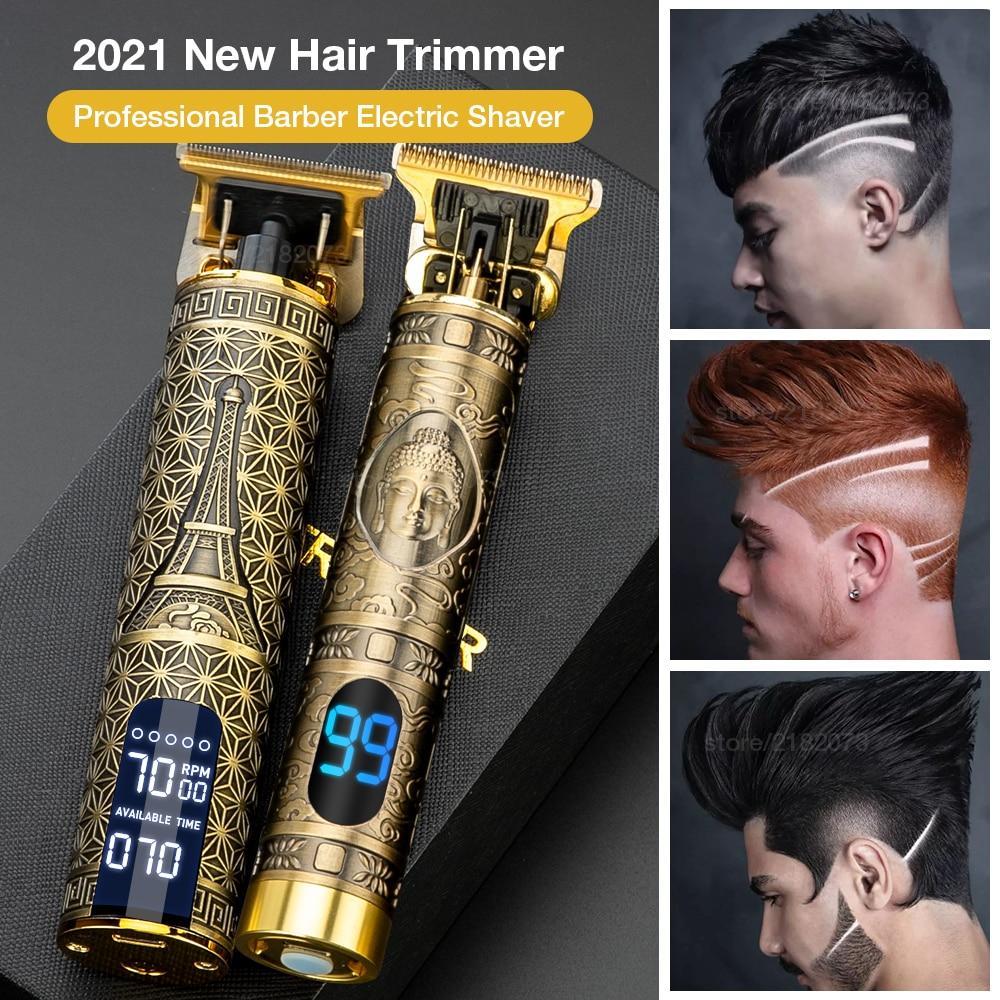 Tondeuse à cheveux pour hommes, Rechargeable par USB, t-outliner, LCD, salon de coiffure, rasoir pour hommes, tondeuse à barbe, Machine pour couper les cheveux