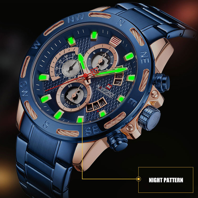 NAVIFORCE Top Brand Men Fashion Gold Watches Men's Waterproof Full Steel Quartz Watch Waterproof Male Clock Relogio Masculino 4