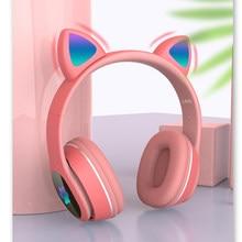 V5.0 piscando bluetooth fones de ouvido sem fio dobrável jogo estéreo crianças fone com microfone bonito gato orelha