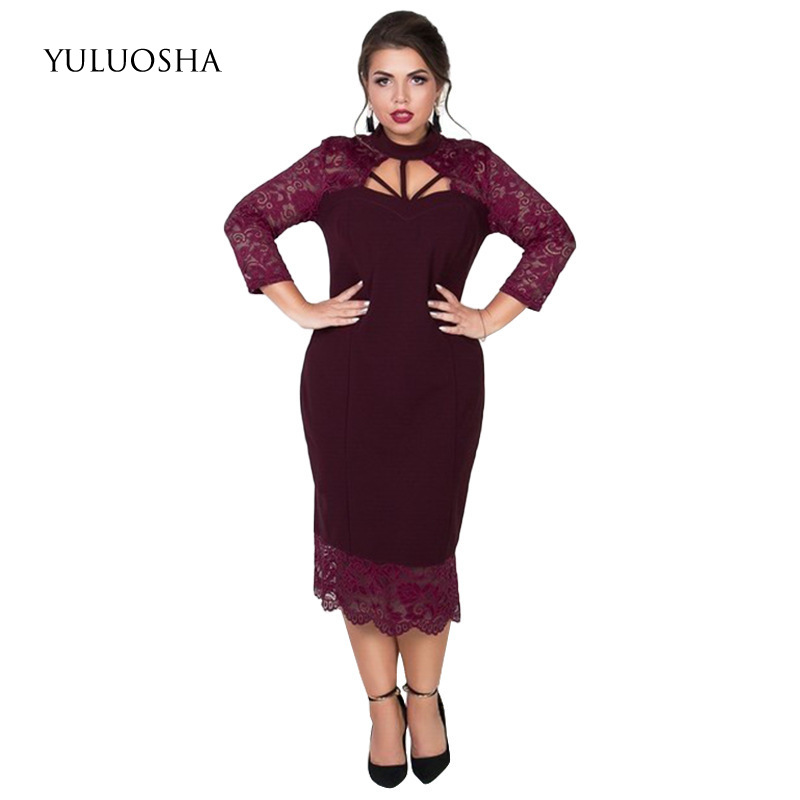 YULUOSHA New Plus Size Long Formal Dress O-Neck A-Line Lace Sexy Women Dress Evening Party Vestido De Noche Con Cristal 5XL 6XL