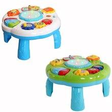 Детский музыкальный столик для развивающих занятий, детские игрушки для малышей, развивающие Обучающие Настольные игрушки с пианино и барабан, светящийся лучший подарок