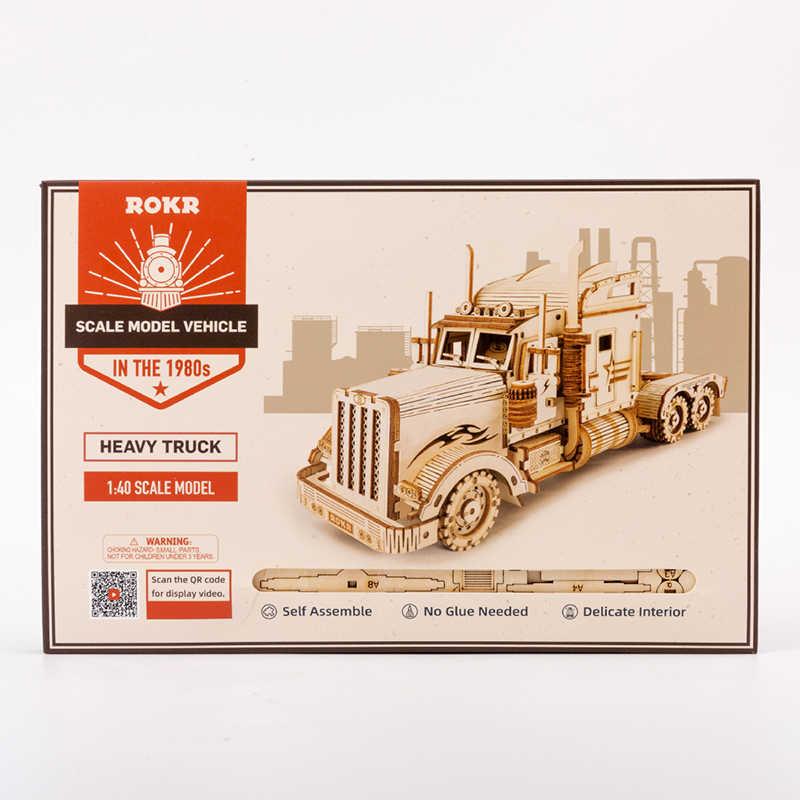 Robotime ROKR لتقوم بها بنفسك ثلاثية الأبعاد خشبية لغز لعبة اليدوية الثقيلة المسار نموذج لعب للأطفال هدايا MC502