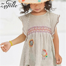 цены ZAFILLE Girls Sleeveless A-Line Dress Cotton Baby Girl Clothes Toddler Summer Dress Casual Kids Clothes 2020 New Girls Clothing