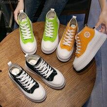 SWYIVY PU Chaussure Femme Neue Casual Schuhe Frau Turnschuhe 2020 Frühling Plattform Turnschuhe Für Frauen Mode Grün Damen Schuh 39