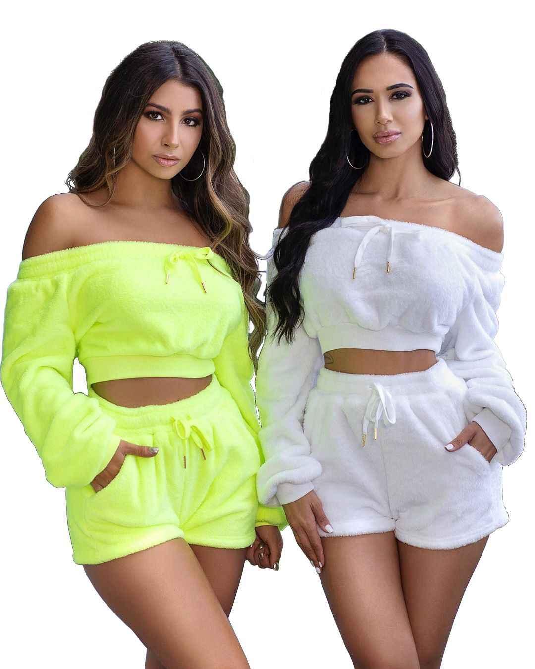 Neon Dua Sepotong Set Wanita Beludru Baju Olahraga Festival Pakaian Tanaman Top Celana Pendek Seksi Klub Pakaian Jatuh Velour Yang Sesuai dengan Set