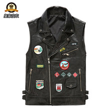 Factory 2020 New Men Motorcycle Cow Leather Vest Fashion Multi labeling Rock Cowhide Vest Riding Biker Vest Jackets(China)