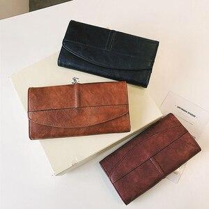 Image 5 - Potrójnie składany portfel kobiet długi PU skóra kobiet torebka z uchwytem Hasp kobieta telefon torba dziewczyna posiadacz karty elegancki pokrowiec