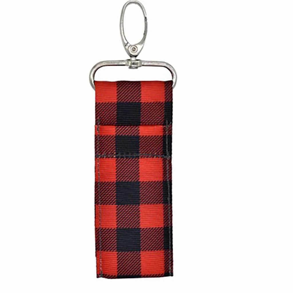 الكمال تخزين حامل أحمر الشفاه كيس مزموم حلقة رئيسية الطباعة سلسلة مفاتيح هدية فتاة