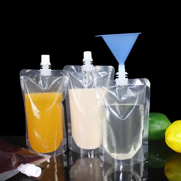 Bộ 50 Rõ Ràng Đứng Lên Vòi Xịt Nước Giải Khát Bao Bì Túi Nhựa Trong Suốt Vòi Xịt Gói Túi Lưu Trữ Cho Tiệc Cưới Nước Bia