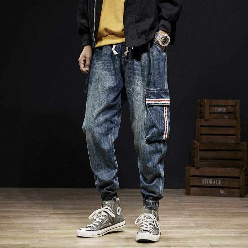 Japanese Vintage Style Fashion Men Jeans Loose Fit Denim Cargo Pants Harem Trousers Pocket Designer Hip Hop Jeans Men Joggers