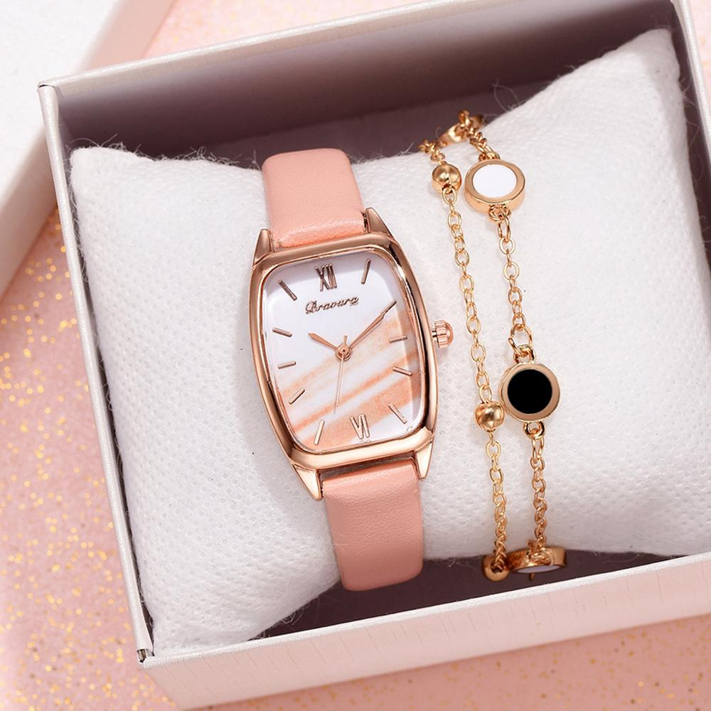 Pink Marble Dial Women's Leather Strap Quartz Bracelet Ladies Wrist Watch With Bracelet Luxury  Gold Jewelry Clock Gift