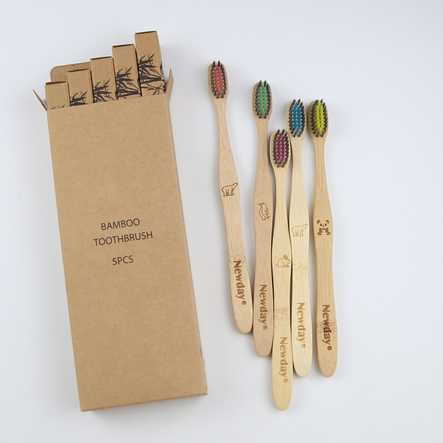 5PCS Eco friendly bamboo toothbrush wooden tooth brush soft-bristle tip charcoal for adults oral care portable 3