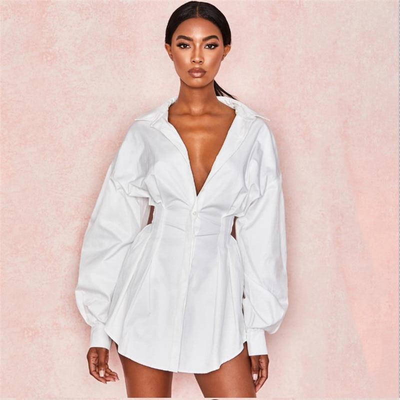 Для женщин, платье-рубашка, для деловой женщины, с буффами на рукавах, v-образный вырез с высокой талией Мини платье однотонное черно-белое по...