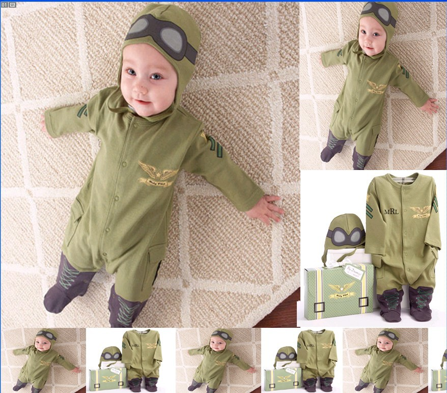 Recommended Section BOY'S Flight Member Long Sleeve Onesie Army Green Hooded Romper