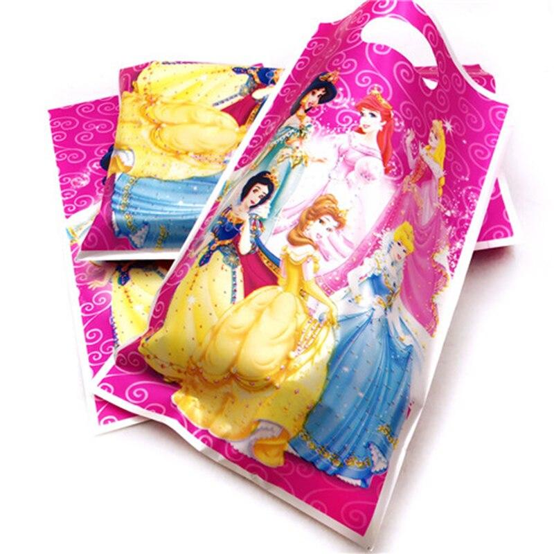 10p Ariel/Snow White/Belle/Cinderella/Jasmine/Aurora Princess Plastic Gift Candy Loot Bag Kid Birthday Party Supplies Decoration
