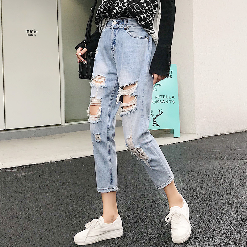 Western Style Ripped Jeans Women's Capri Fashion-with Holes Jeans Loose Harem Pants Korean-style Light Color WOMEN'S Dress