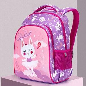 New 3D Cartoon School Bag For Gilrs Boys Cat Bear Pattern Orthopedic Backpack Children School Bags Student Mochila Grade 1-4(China)